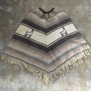 Vintage Llama Wool Poncho